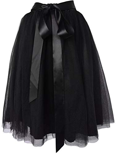 Dancina Women's Knee Length Tutu A Line Layered Tulle Skirt Plus (Size 12-22) Black]()