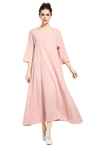 Anysize Three Quarter Sleeve Linen Cotton Spring Summer Plus Size Dress F140A Skin Pink