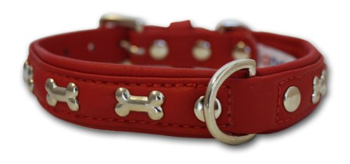 "Leather ""Bones"" Dog Collar (Rotterdam). 18″ x 3/4″ , Valentine Red, My Pet Supplies"