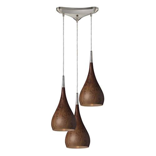Alumbrada Collection Lindsey 3 Light Pendant In Burl Wood And Satin Nickel