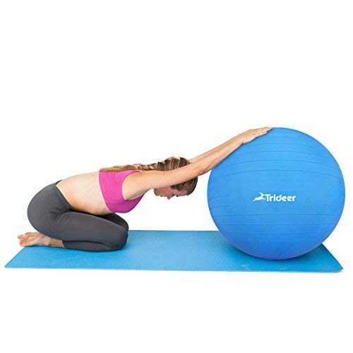 Trideer Exercise Ball (45-85cm) Extra Thick Yoga Ball Chair, Anti-Burst Heavy Duty Stability Ball Supports 2200lbs, Birthing Ball with Quick Pump (Office & Home & Gym) (Dark Blue, 45cm) by Trideer (Image #3)