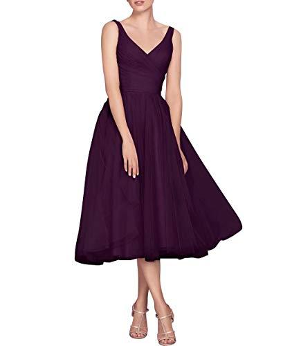 NaXY Vintage V Neck Short Sleeves Tea Length Bridesmaid Dress Long Evening Formal Tulle Women Dresses 2018 Grape Size 16