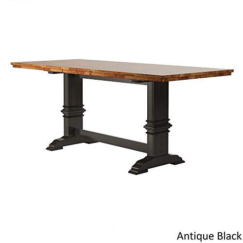 Inspire Q Eleanor Solid Wood Counter Ight Trestle Base Dining Table by Classic Black Oak Finish, Black Finish