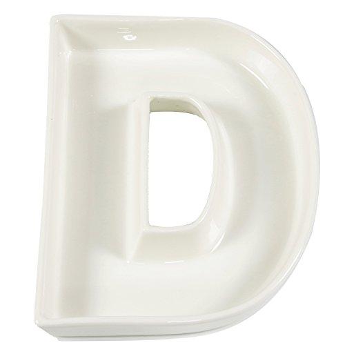 White Ceramic Letter Dish for Table Decoration, Letter D