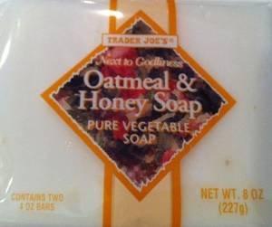 Trader Joe's Oatmeal & Honey Soap Pure Vegetable Soap 2 pack = 4 bars (Oatmeal Bath Bar)
