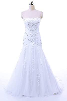 Vantexi Women's Strapless Mermaid Wedding Dress Bridal Gown