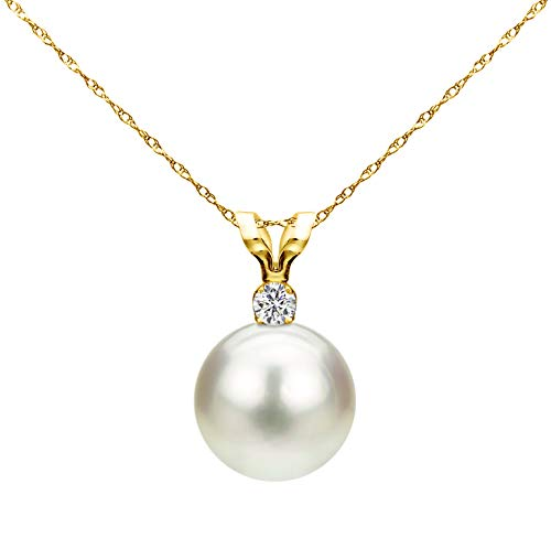 7-7.5mm White Saltwater Cultured Japanese Akoya Pearl Diamond Pendant Necklace 14KY Gold 1/100cttw Graduation Gifts ()