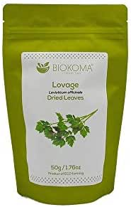 100% Pure and Organic Biokoma Lovage (Levisticum officinale) Dried Leaves 50g (1.76oz) in Resealable Moisture Proof Pouch