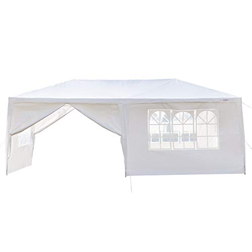 Z ZTDM 10' x 20' Outdoor Canopy Wedding Party Tent + 6pcs Removable Sidewalls, Screen Houses Sun Shelters Patio Garden Gazebos BBQ,White ()