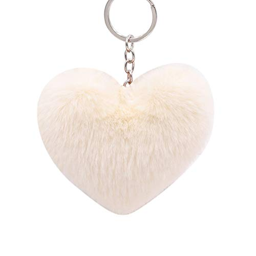 Fluffy Love Heart Keychain Key Ring Pendant Handbag Bag Faux Fur Wallet Decor yingyue - Ring Heart Puff