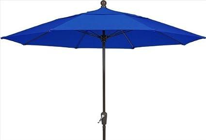 FiberBuilt Umbrellas Patio Umbrella With Push Button Tilt, 7.5 Foot Pacific  Blue Canopy And
