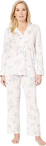 (LAUREN RALPH LAUREN Women's Petite Knit Notch Collar Pajama Set Pink Floral Print Medium)