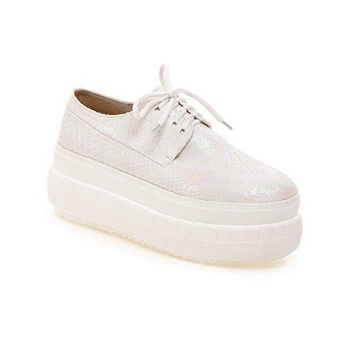 Solid Pumppuja kengät Pitsi Pyöreän Toe Naisten Suljetun Weipoot Valkoinen Korkokengät q0xYwP