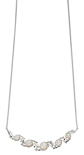 Element Necklace Jewelry Pearl (Elements Silver Womens Pearl and Twist Necklace - Silver/White)
