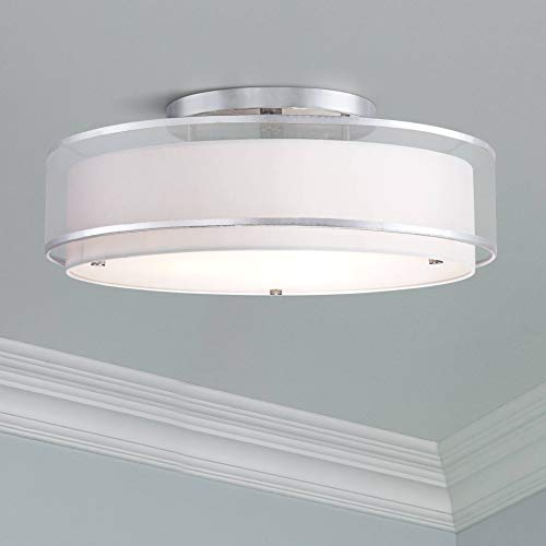 Modern Ceiling Light Flush Mount Fixture Sheer Organza Off White Double Drum 20