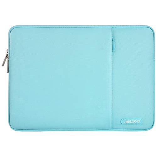 MOSISO Laptop Sleeve Bag Compatible with 13-13.3 inch MacBook Pro, MacBook Air, Notebook Computer, Water Repellent Polyester Vertical Protective Case Cover with Pocket, Hot Blue