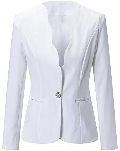 Women's One Button Slim Fit Casual Office Work Blazer Suit Jacket White, Medium -