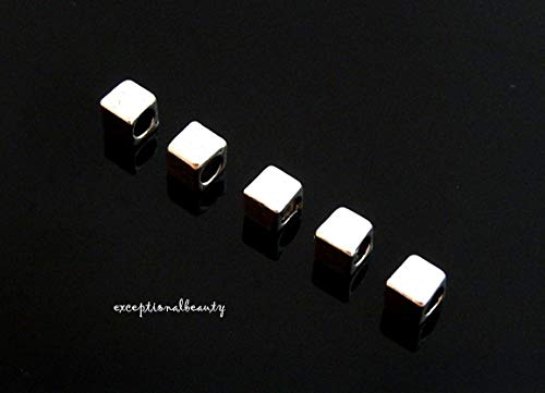 Silver 4mm Square Box Cube Spacer Accent Beads 2.7mm Hole ()