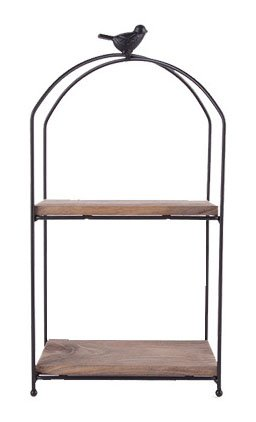Country Rustic 2 Tier Wood and Bronze Metal Kitchen Tabletop Shelves (Rectangle)