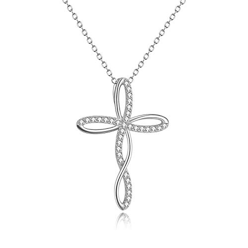 - Celtic Cross Necklace Infinity Cubic Zirconia Pendant Sterling Silver Nceklace Jewelry Gifts for Women Teen Girls
