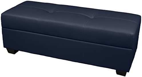 Leather Look Upholstered Tufted Padded Hinged Storage Ottoman Bench, 48 by 19 by 18 , Navy