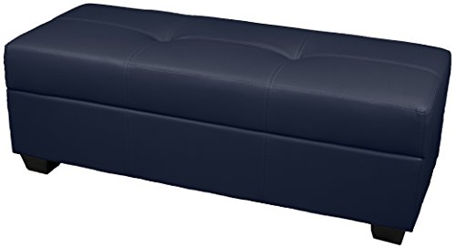 Epic Furnishings Vanderbilt Loveseat Tufted Padded Hinged Storage Ottoman Bench, Leather Look Navy