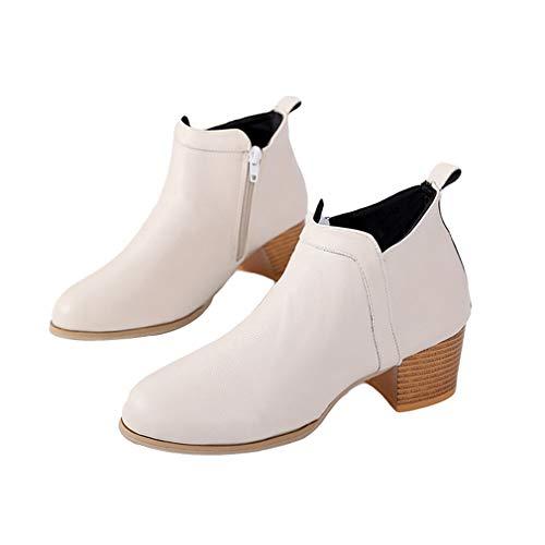 Einfarbig Stiefeletten EU 35 Damen Winter Stiefeletten Stiefel Weiß Farben Martin Kopf Ankle Boots 42 Booties Herbst Runder Absatz Seitlicher 3 Reißverschluss Dicker YxAwwU