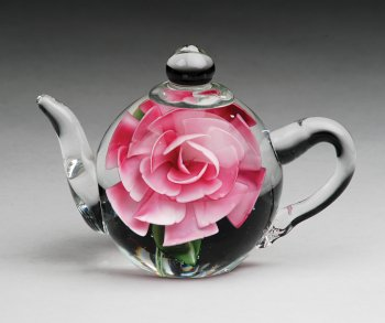 Dynasty Gallery Glass Teapot Paperweight with Pink Rose 6128 5.5 Inches Long by Dynasty Gallery