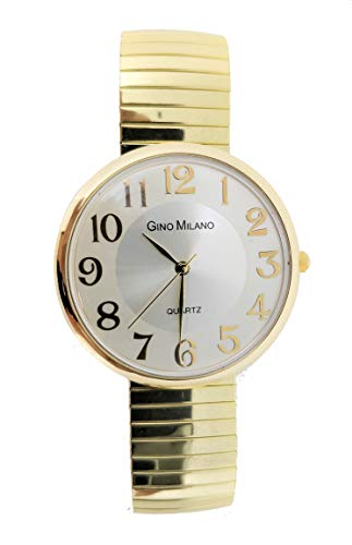 Unisex Slim & Sleek Gold Stretch Band Classic Easy Reader Watch with Clear Gold Arabic Numbers on Dial Medium Size Face - 8197 Gold ()
