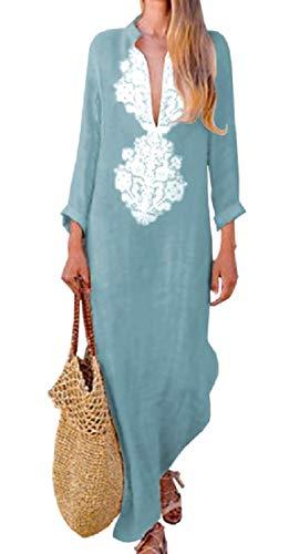 Coolred-femmes Coton Lin Imprimé Flocon Printemps / Automne Une Ligne Robe Bleu Clair