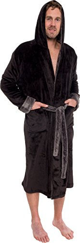 Ross Michaels Mens Hooded Bathrobe - Shawl Collar Plush Lounge Robe â€
