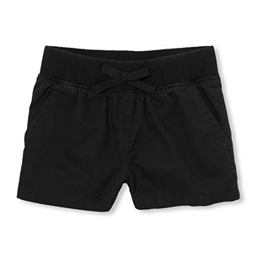 The Children's Place Big Girls' Slim Solid Knit Waistband Short, Black, 12