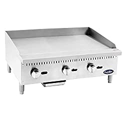 Atosa Us Atmg 36 Commercial Griddle Heavy Duty Manual Flat Top Restaurant Griddle Stainless Steel Portable Grill Liquid Propane 36 Countertop 90 000 Btu
