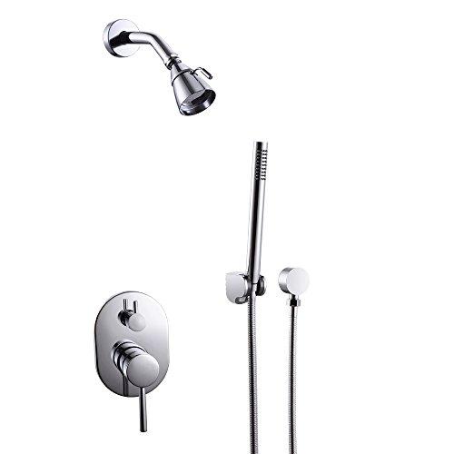 KES X6222 Bathroom Single Handle Shower Faucet Trim Valve Body Hand Shower Complete Kit, Polished Chrome cheap