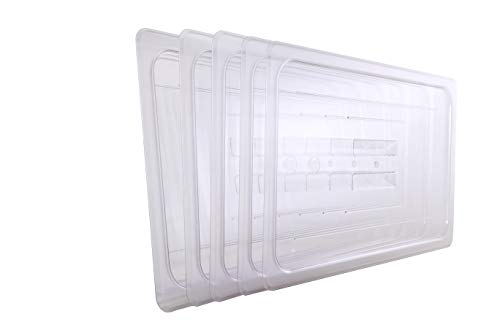 Hakka 1/1 Size Polycarbonate Gastronorm Pans Lid&Cover,Clear - Pack of 6