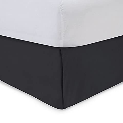 Harmony Lane Tailored Bedskirt - 18 inch Drop, Twin, Black Bed Skirt with Platform (Available in All Sizes and 16 Colors)