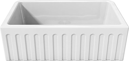 "Latoscana 30"" Reversible Fireclay Farmhouse Sink LFS3018W"