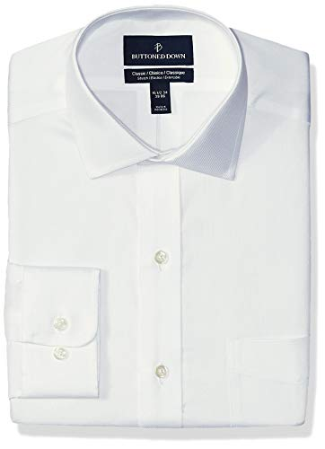 (BUTTONED DOWN Men's Classic Fit Stretch Twill Non-Iron Dress Shirt, White, 17