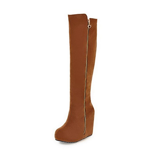 AmoonyFashion Womens Round Closed Toe High-Heels Frosted High-top Solid Boots Brown uY3ar