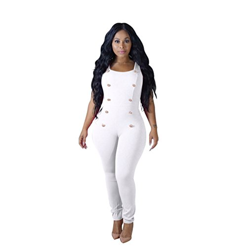 ZhiYuanAN Mono Estilo Chaleco Para Mujer Jumpsuit Bodysuit Sin Mangas Con Doble Pecho Color Sólido De Gran Tamaño Monos Playsuit Blanco