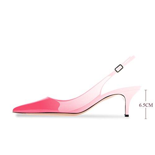 Modemoven Damen Slingback Kitten Absatz Kitten Absatz Pumps Spitz,6.5 cm Stiletto High Heels Lack,Hochzeitsschuhe Damen,Übergröße Schuhe Damen Rosa Beige