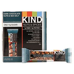 Kind 17851 Nuts and Spices Bar, Dark Chocolate Nuts and Sea Salt, 1.4 oz, 12/Box