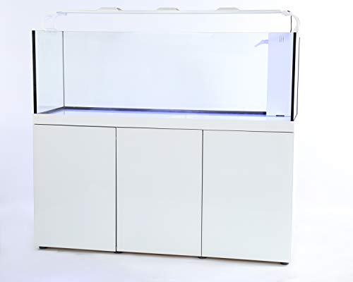 (Pro Clear Rimless Glass Aquarium Combo with Tank and Stand. Built in Sump Filtration for Freshwater or Saltwater use. Includes high Output LED Lighting and auto top Off Reservoir. (110gal, White))