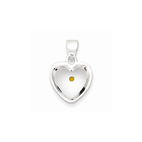 - viStar Sterling Silver Enameled With Mustard Seed Heart Pendant