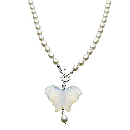 Opalite Glass Butterfly Pendan