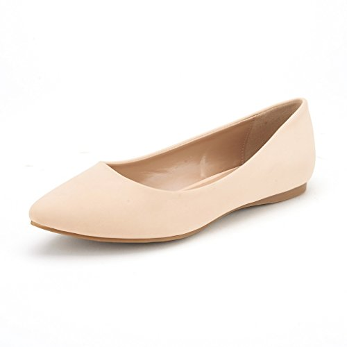 DREAM PAIRS Sole Classic Women's Casual Pointed Toe Ballet Comfort Soft Slip On Flats Shoes Nude Nubuck Size 7