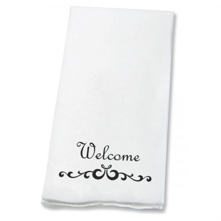Welcome Scroll Linen-Like Disposable Hand Towels (Set of 100), 50% Cotton 50% Paper Blend, 13
