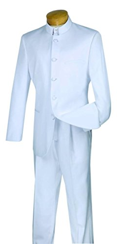 Mens Classic Single - Vinci Men's 5 Button Single Breasted Classic Fit Banded Collar Suit 5HT-White-42L