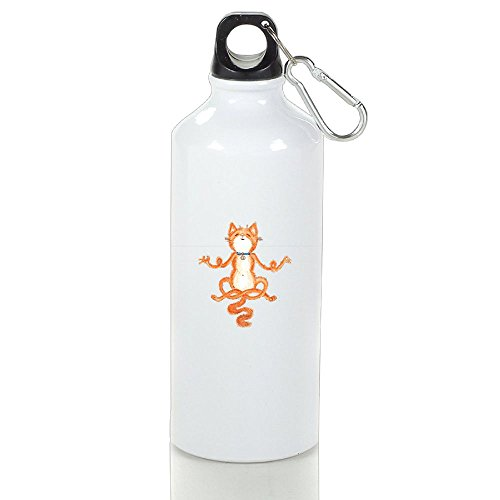Aluminum Water Bottle 14/17.5/21 oz Bulk with Handle Cap Set Insulated Custom Canteen for Sport - Meditation Yoga Cat by BHRETI