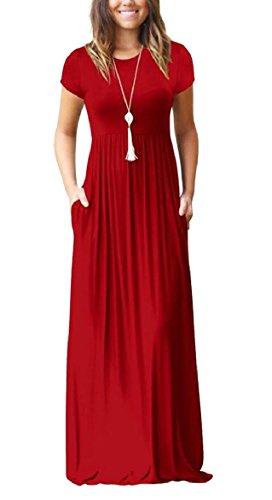 Qianqian-au Womens Maxi Robe Casual Manches Courtes Col Rond Longue Robe Avec Des Poches 3